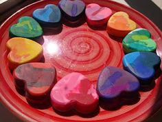Homemade heart-shaped crayons for Valentine's Day preschool gifts