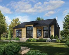 Inspired by Scandinavian architecture, this beautiful wooden cottage has many windows with an 8 foot patio door on the façade, a large terrace with a covered section and a crawlspace. It is 40 feet wide and 30 feet deep and offers a living area of 1060 sq Contemporary House Plans, Modern House Plans, Small House Plans, Scandinavian Architecture, Scandinavian Home, Plan Chalet, Wooden Cottage, Cottage Plan, Solar House