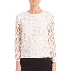 Diane von Furstenberg Belle Embellished Lace Top ($398) ❤ liked on Polyvore featuring tops, apparel & accessories, white, white pullover, white embroidered top, embroidered top, lace top and white sequin top