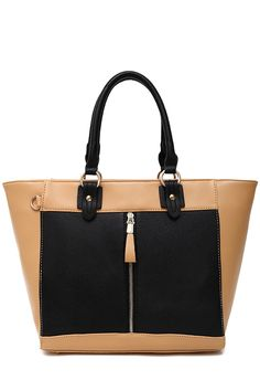 Color Block Zipper Tote Bag