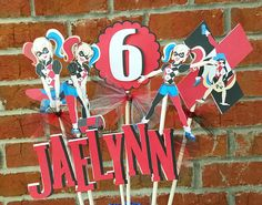 Set of 7 Harley Quinn Themed Centerpiece Picks or Cake Toppers
