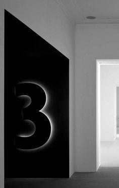 Illuminated level ID sign - Herzog & DeMeuron Hotel Signage, Office Signage, Directional Signage, Wayfinding Signage, Signage Display, Signage Design, Environmental Graphic Design, Environmental Graphics, Planer