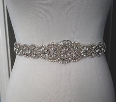 Beaded bridal sash crystal wedding belt sash by WestaireBridal