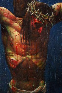Crucifixion by Simon Bisley Jesus Christ Painting, Jesus Art, Crucifixion Painting, Christian Paintings, Christian Art, Passion Of Christ Images, Jesus Drawings, Simon Bisley, Jesus Photo
