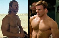 Chris Evans & Chris Hemsworth....how did the creator of this pin know what I dream about every night?!