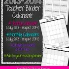 2013-2014 School Calendar - Completely editable and works with ANY Teacher Binder  Do you need an updated calendar for the school year to add to yo...