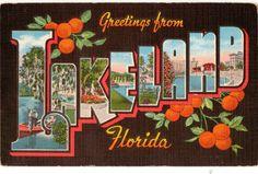 Linen Postcard Greetings from Lakeland Florida by lotsofpostcards, $4.99