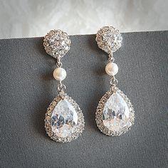 Crystal Teardrop Bridal Earrings, Wedding Jewelry, Pearl and Rhinestone Bridal Wedding Earrings, Statement Chandelier Earrings, ORLINA