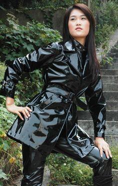 black shiny vinyl rain wear