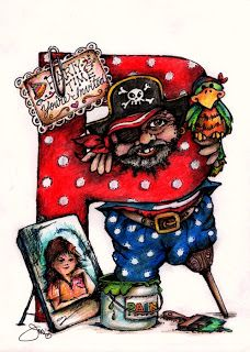 Pop Art Minis: Yo,Ho,Ho...P is for A Partying Peg-Legged Pirate Painting A Perfect Portrait...PHEW!