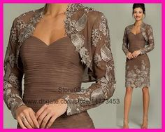 Groom Mother Dresses 2014 Summer Gorgeous Brown Lace Short Bodycon Mother Of The… Grooms Mom Dress, Groom Dress, Dresses Uk, Bride Dresses, Bridesmaids And Mother Of The Bride, Gown With Jacket, Cheap Gowns, Mothers Dresses, Groom Attire