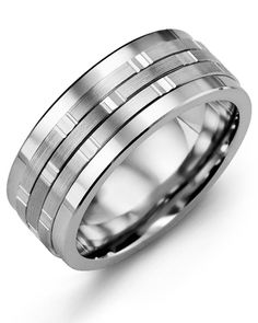 d8ba6e93a3 Men's tungsten carbide wedding ring with 10kt white gold inlay. 9mm comfort  fit band.