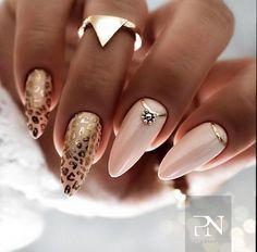 Gold Nail Designs, Cute Nail Designs, Leopard Nail Designs, Stylish Nails, Trendy Nails, Gold Nail Art, Nails With Gold, Pink Gold Nails, Leopard Print Nails
