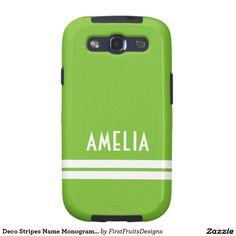 Deco Stripes Name Monogram Lime Green White Galaxy SIII Case