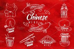 Chinese food signs by Anna on @creativemarket