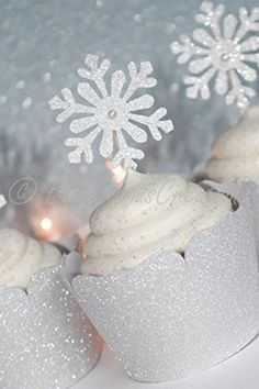 Set of 12  Silver Glitter Shimmer Snowflake Cupcake  Winter Wonderland Party Decor  Frozen Party Decor  Snowflake Food Picks * Click on the image for additional details.