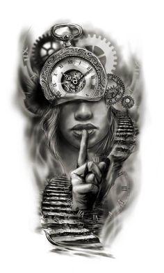 Clock face half sleeve custom tattoo design idea by Tattoo Tailors - Ostern Clo. - Clock face half sleeve custom tattoo design idea by Tattoo Tailors – Ostern Clock face half slee - Tattoos For Women Half Sleeve, Half Sleeve Tattoos Designs, Best Sleeve Tattoos, Tattoo Designs For Women, Tattoo Half Sleeves, Leg Sleeves, Women Leg Tattoos, Thigh Tattoos, Sleeve Tattoo Women