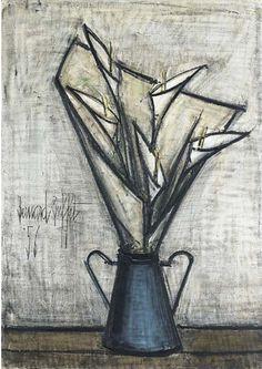 Bernard Buffet - Arums dans un pot à lait; Creation Date: 1956; Medium: oil on canvas; Dimensions: 36.25 X 25.5 in (92.08 X 64.77 cm)