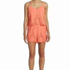 Eyelet Gardner Romper Beautiful eyelet Gardner Romper in gorgeous coral color. Romper is 100% cotton,  has adjustable straps, and pockets! Perfect for any occasion! Shorts