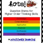 HOTS Question Cards - Here's a freebie to support higher order thinking skills (HOTS) in your classroom! There are six pages of question stems (one page for each level) Thinking Skills, Critical Thinking, Higher Level Questioning, Question Stems, Depth Of Knowledge, Elementary Education, Classical Education, Higher Order Thinking, Math Questions