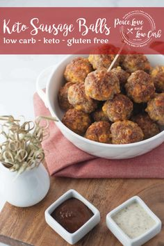 Your favorite holiday appetizer just got a keto makeover. These Keto Sausage Bal. Your favorite holiday appetizer just got a keto makeover. These Keto Sausage Balls are the perfect Low Carb Appetizers, Holiday Appetizers, Holiday Recipes, Keto Holiday, Real Food Recipes, Keto Recipes, Pork Recipes, Free Recipes, Chicken Recipes