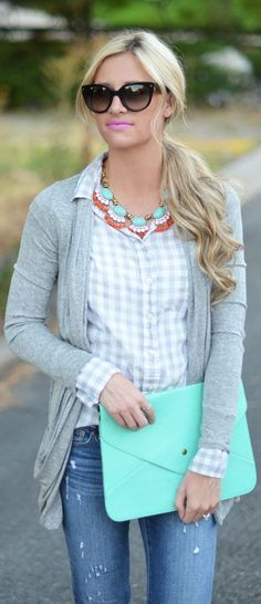 Gray button up and cardi...with a pop of red and turquoise. yes