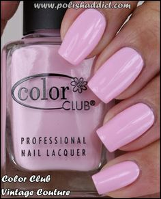 Color Club - Vintage Couture. A mod lilac baby pink crème. nail polish swatch.