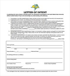 National Letter of Intent Football,letter of intent template india