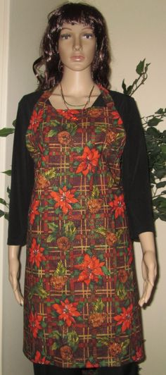Homemade Poinsettia and Pine Cones Apron by GlorysCloset on Etsy