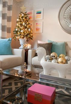 Grey, white and cream Christmas with colorful accents