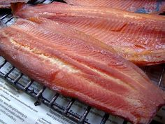 Smoked fish is in our regular rotation here and I have many recipes we alternate back and forth from. This one is my favourite. The time li. Rainbow Trout Recipes, Fish Recipes, Seafood Recipes, Game Recipes, Bacon Recipes, Oven Recipes, Smoked Trout, Smoked Fish, Smoked Bacon