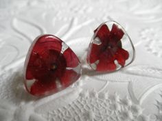 Vivid Red Verbena Pressed Flower Glass by giftforallseasons, $24.00