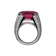 Cartier Royal ring, platinum, one 20.02 carat emerald-cut pink spinel, onyx, brilliant-cut diamonds.