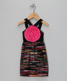 Take a look at this Black & Pink Blooming Rose Stripe Dress - Toddler & Girls by Freckles + Kitty on #zulily today!