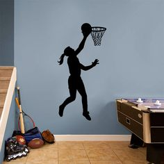 Basketball Girl Layup Wall Decal, Girls Sports Wall Art Decor, Ball Girl and Net Sticker Sports Wall Decals, Vinyl Wall Decals, Sticker Vinyl, Wall Stickers, Volleyball Workouts, Kindergarten, Room Wall Decor, Bedroom Wall, Room Themes
