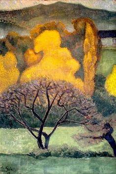 'Brumes d'automne' by French painter Paul Sérusier via my aloysius Paul Gauguin, Abstract Landscape, Landscape Paintings, Abstract Art, Art Amour, Art Français, Art Moderne, French Art, Tree Art
