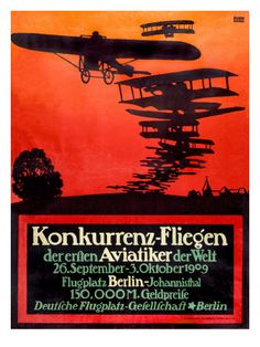 German bi-plane art deco poster from 1909.