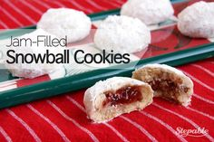 These snowball cookies are sweet and flaky, and have a delicious surprise in the middle: sweet jam! You can choose your favorite flavor to use for the filling, but my favorite is strawberry jam. Chopped pecans add a little crunch to these snowball cookies. They are perfect for an afternoon snack. I prefer them warmed up and served with tea.