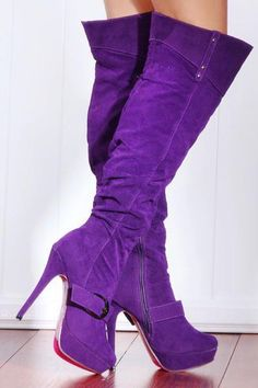 If I could pull off these awesome purple boots I would wear them all the time!