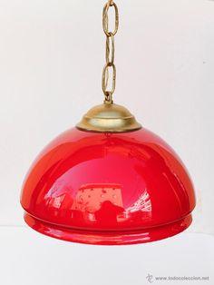 Lámpara de techo de tulipa en cristal de opalina roja . 22 x 42 cm- El Desván de…