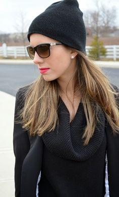 black beanie, bold lip l Clothed In Confetti Blog