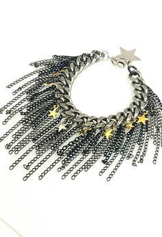 stars silver gold black ferns unique barcelet #jewelry #bracelet @EtsyMktgTool #silverbracelet #uniquebracelet #starsbracelet #chainbracelet