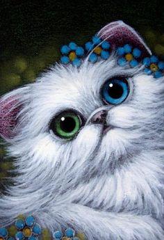 Cyra White | Art: WHITE PERSIAN CAT ODD EYE FORGET-ME-NOT FLOWERS by Artist Cyra R ...
