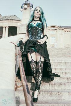 Model, MUA: Blood Betty Trainskirt: deathless corsets Corset: rebelmadness.pl Photographer: michal szydlowski photography