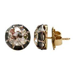 Cushion Cut Diamond Earrings | From a unique collection of vintage stud earrings at http://www.1stdibs.com/jewelry/earrings/stud-earrings/