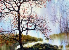 Z L Feng Landscape Paintings, Watercolor Trees, Watercolor Pictures, Hand Art Drawing, Tree Painting, Oil Painting Inspiration, Watercolor Landscape, Landscape Art, Abstract City