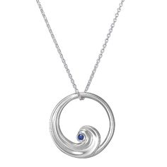 Silver Wave Pendant with Ethically Sourced Blue Sapphire. This signature Brilliant Earth pendant draws inspiration from the sea, $135.