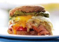 Whole grain egg, ham and cheese melt with tomato and avocado