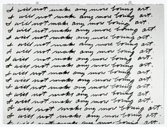 John Baldessari, I Will Not Make Any More Boring Art, 1971. Lithograph. Printed and published by Nova Scotia College of Art and Design. Edition no. 48/50. Whitney Museum of American Art, New York; purchased with funds from Susan Hess