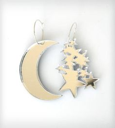 Mirrored Silver Moon & Star Dangle Earrings